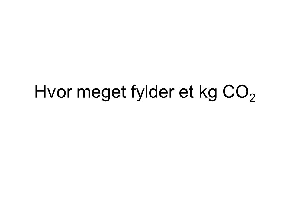 Hvor meget fylder et kg CO2