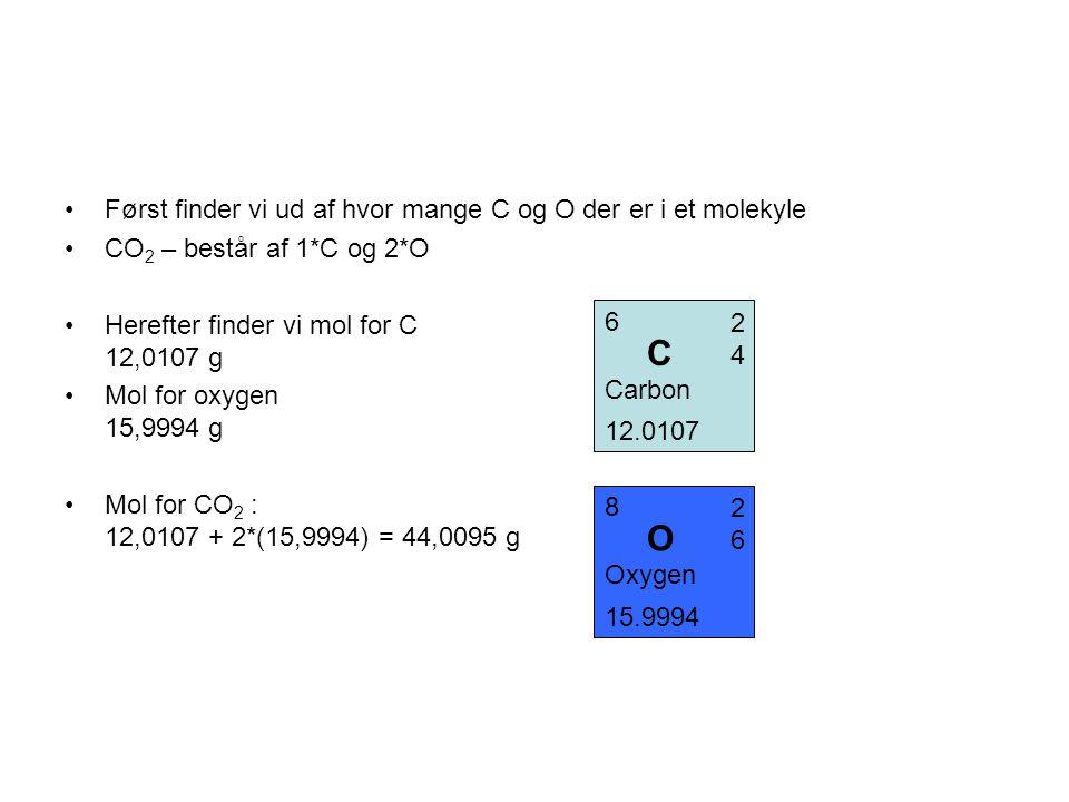C O Først finder vi ud af hvor mange C og O der er i et molekyle