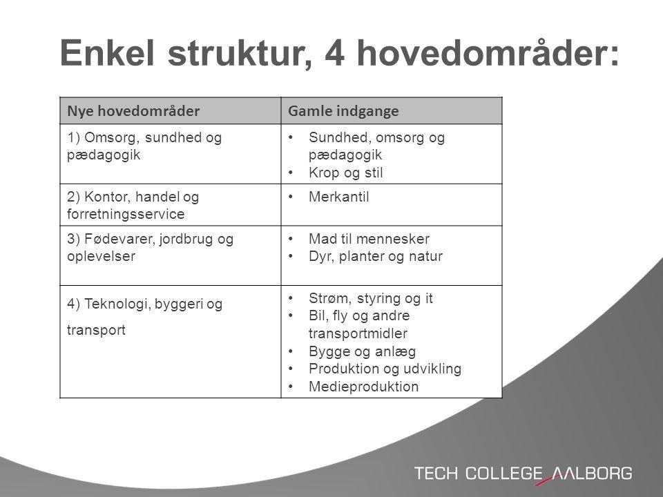 Enkel struktur, 4 hovedområder: