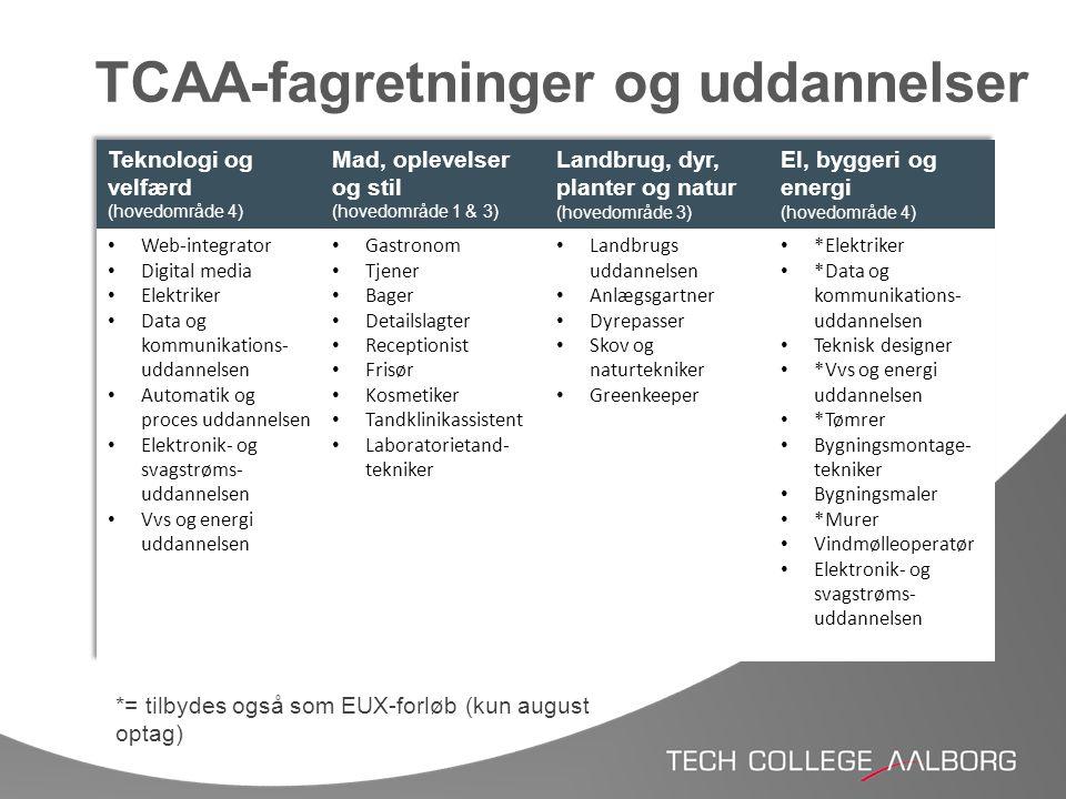 TCAA-fagretninger og uddannelser