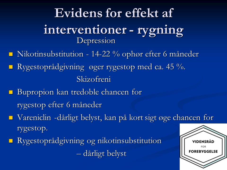 Evidens for effekt af interventioner - rygning