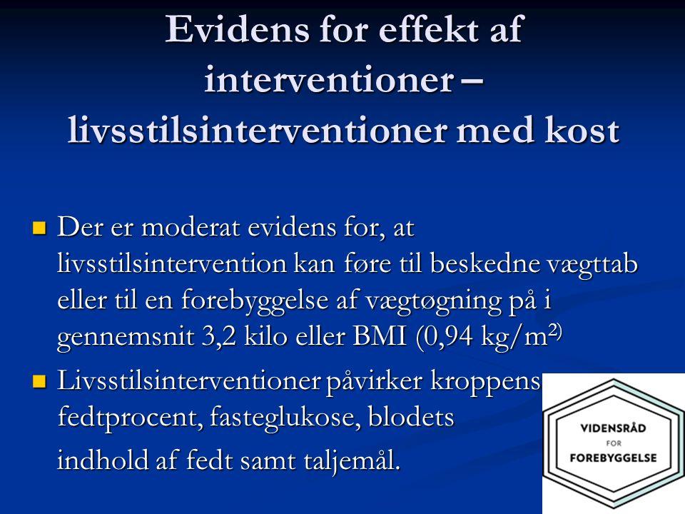 Evidens for effekt af interventioner – livsstilsinterventioner med kost