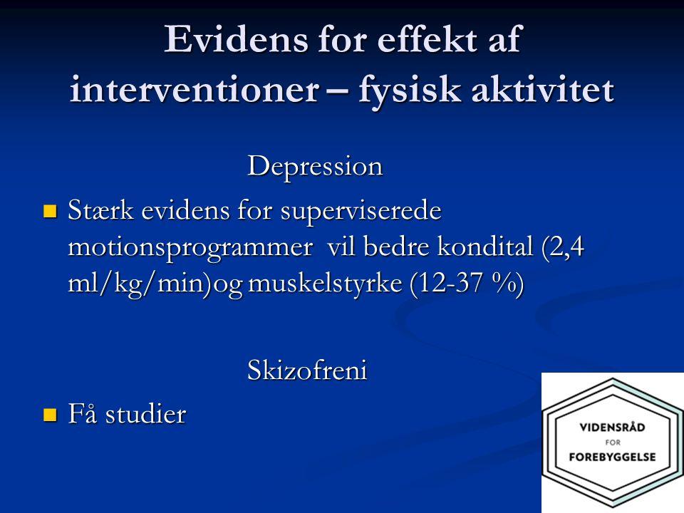 Evidens for effekt af interventioner – fysisk aktivitet
