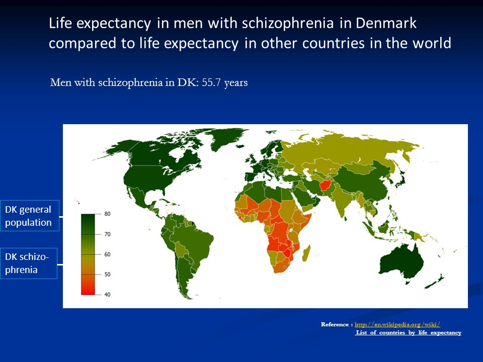 Life expectancy in men with schizophrenia in Denmark compared to life expectancy in other countries in the world