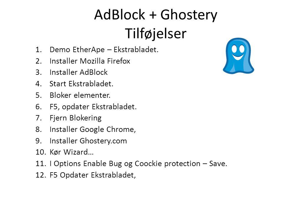 AdBlock + Ghostery Tilføjelser