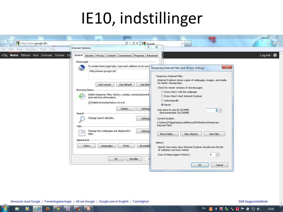 IE10, indstillinger