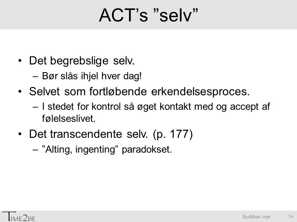 ACT's selv Det begrebslige selv.