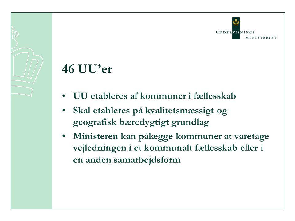 46 UU'er UU etableres af kommuner i fællesskab