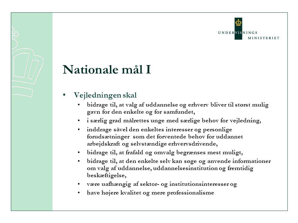 Nationale mål I Vejledningen skal