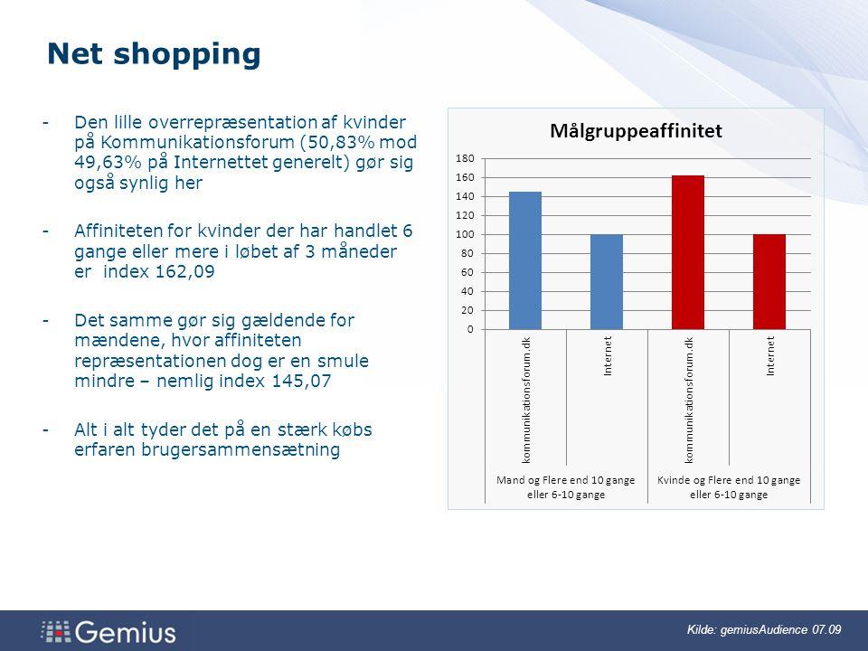 Net shopping Den lille overrepræsentation af kvinder på Kommunikationsforum (50,83% mod 49,63% på Internettet generelt) gør sig også synlig her.