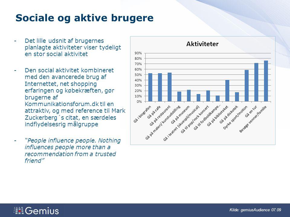 Sociale og aktive brugere