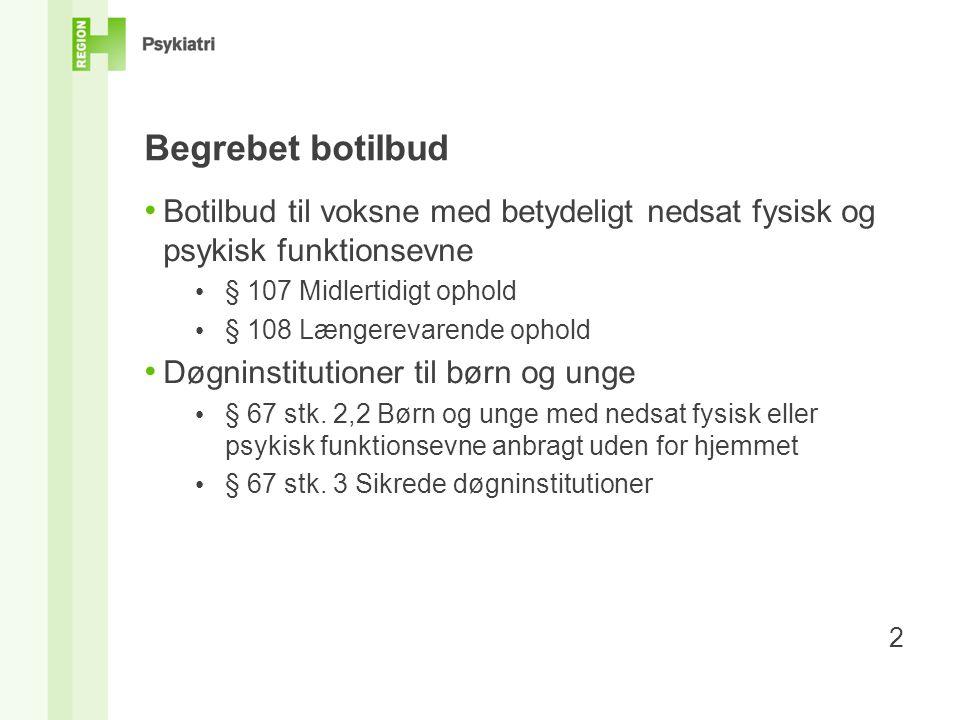 Begrebet botilbud Botilbud til voksne med betydeligt nedsat fysisk og psykisk funktionsevne. § 107 Midlertidigt ophold.