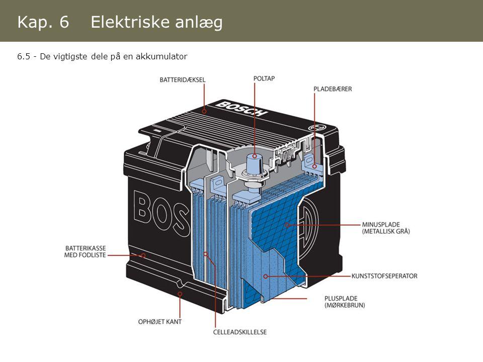 Kap. 6 Elektriske anlæg 6.5 - De vigtigste dele på en akkumulator