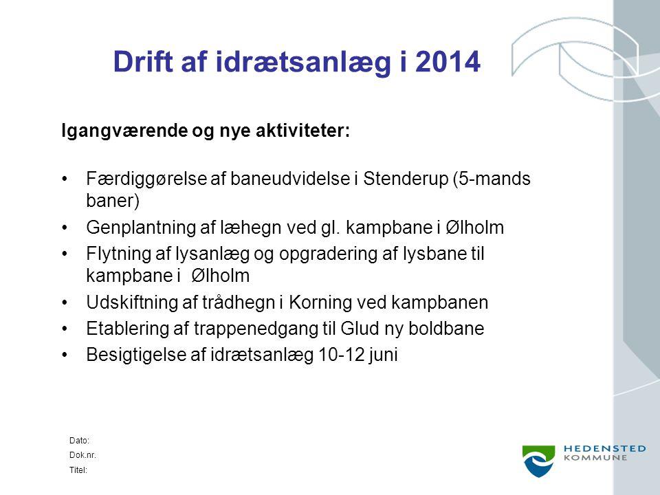 Drift af idrætsanlæg i 2014 Igangværende og nye aktiviteter:
