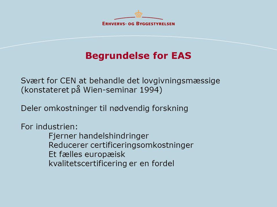 Begrundelse for EAS Svært for CEN at behandle det lovgivningsmæssige (konstateret på Wien-seminar 1994)