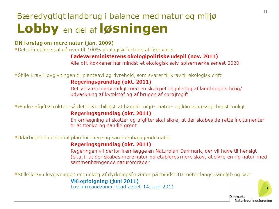 Bæredygtigt landbrug i balance med natur og miljø Lobby en del af løsningen
