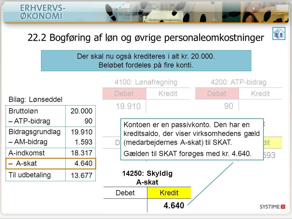 22.2 Bogføring af løn og øvrige personaleomkostninger