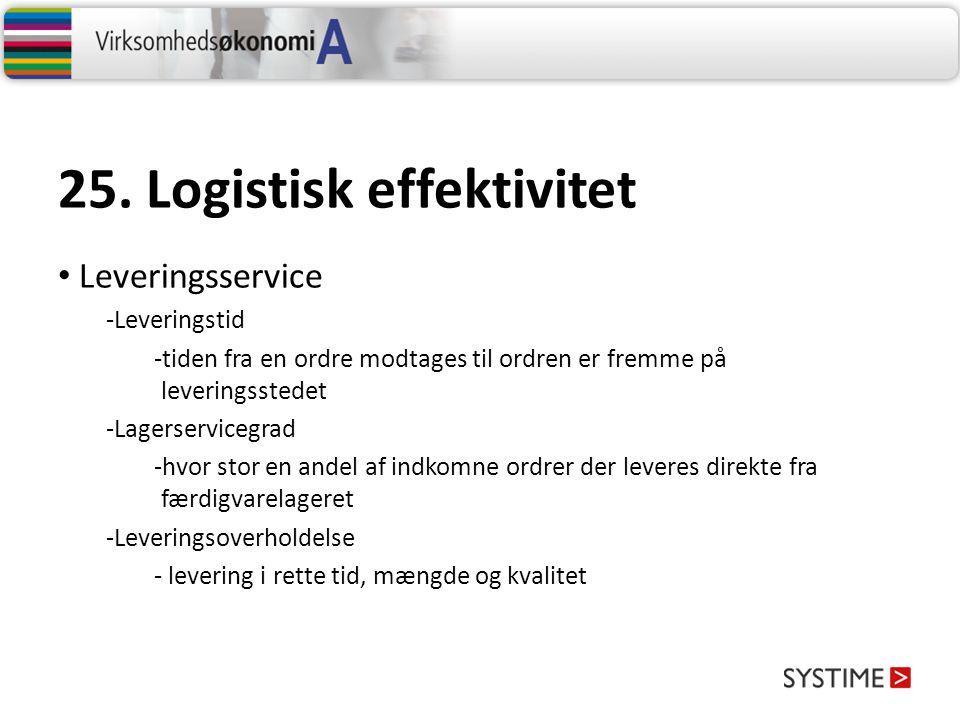 25. Logistisk effektivitet