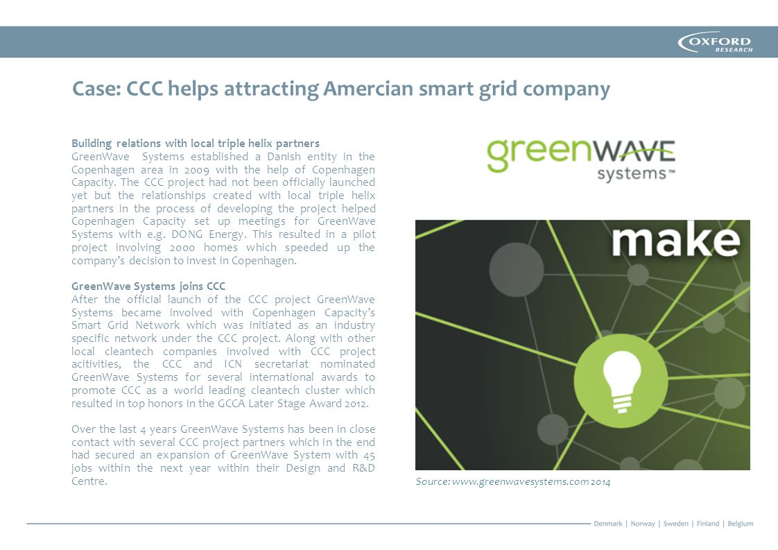 Case: CCC helps attracting Amercian smart grid company