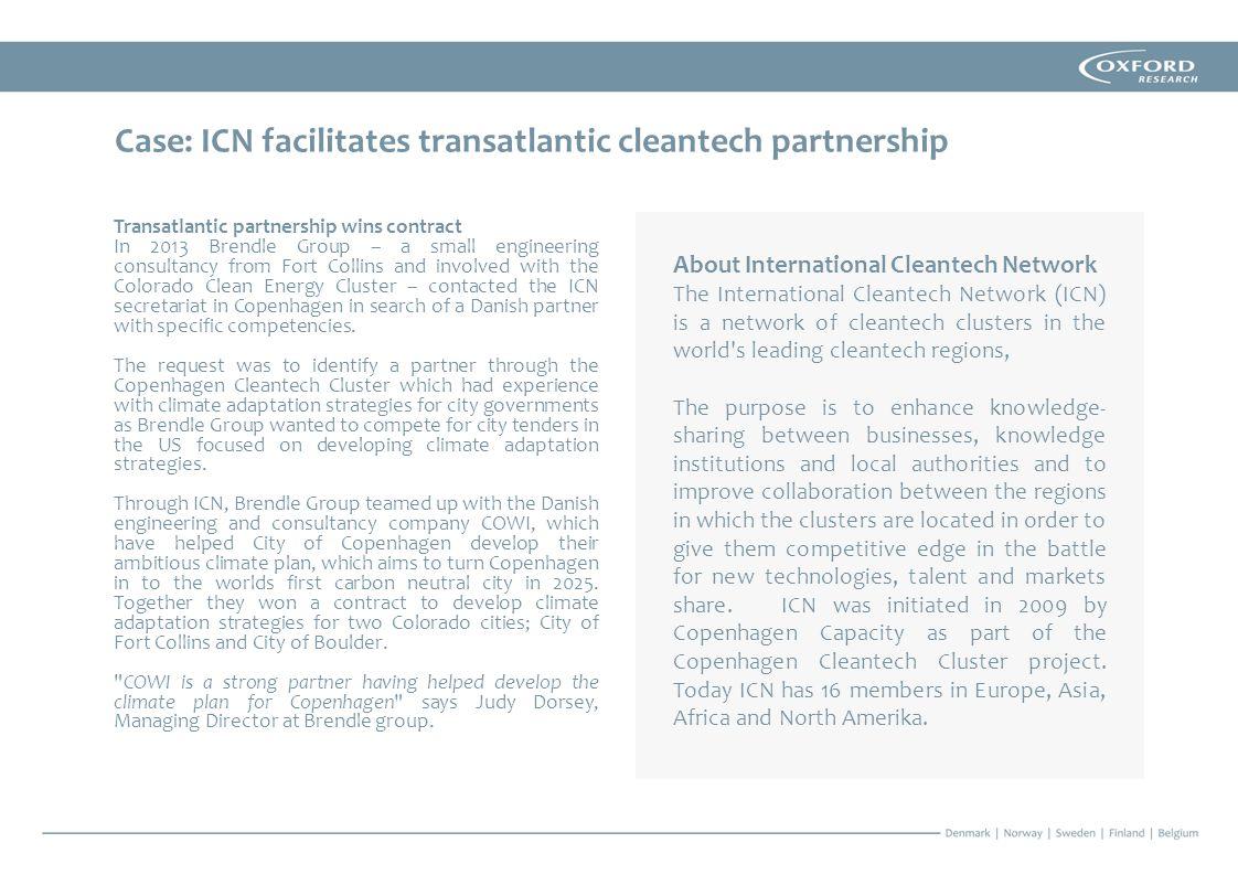 Case: ICN facilitates transatlantic cleantech partnership