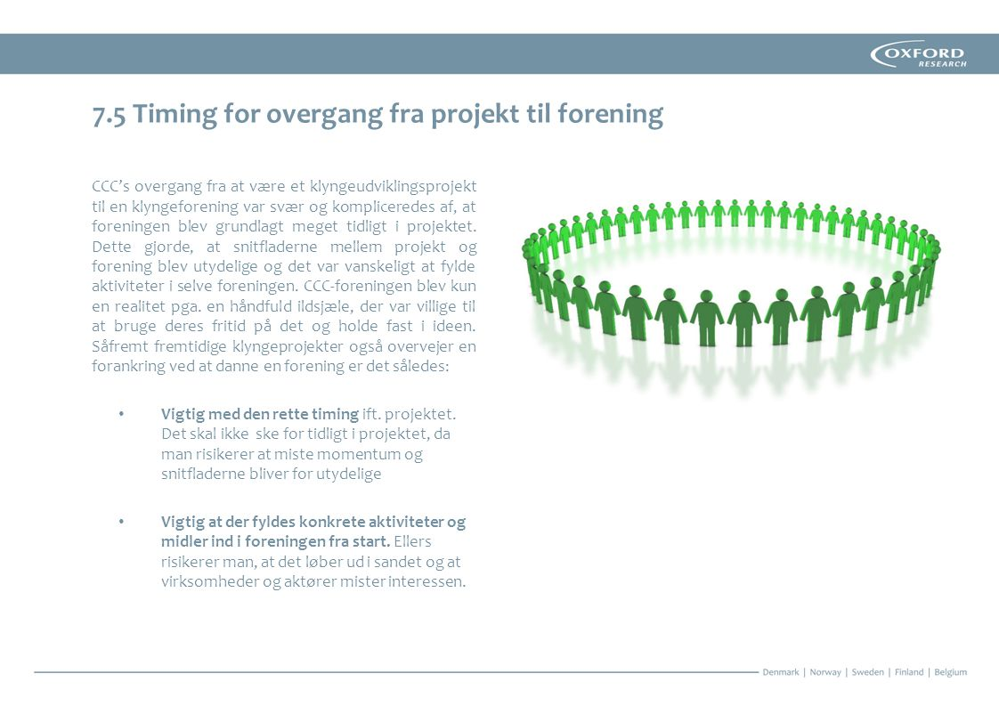 7.5 Timing for overgang fra projekt til forening