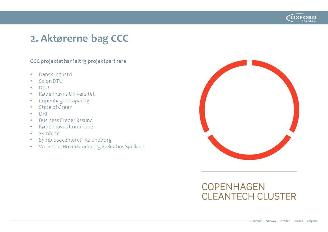 2. Aktørerne bag CCC CCC projektet har i alt 13 projektpartnere
