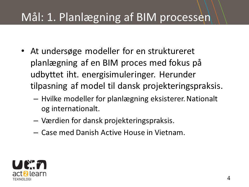 Mål: 1. Planlægning af BIM processen