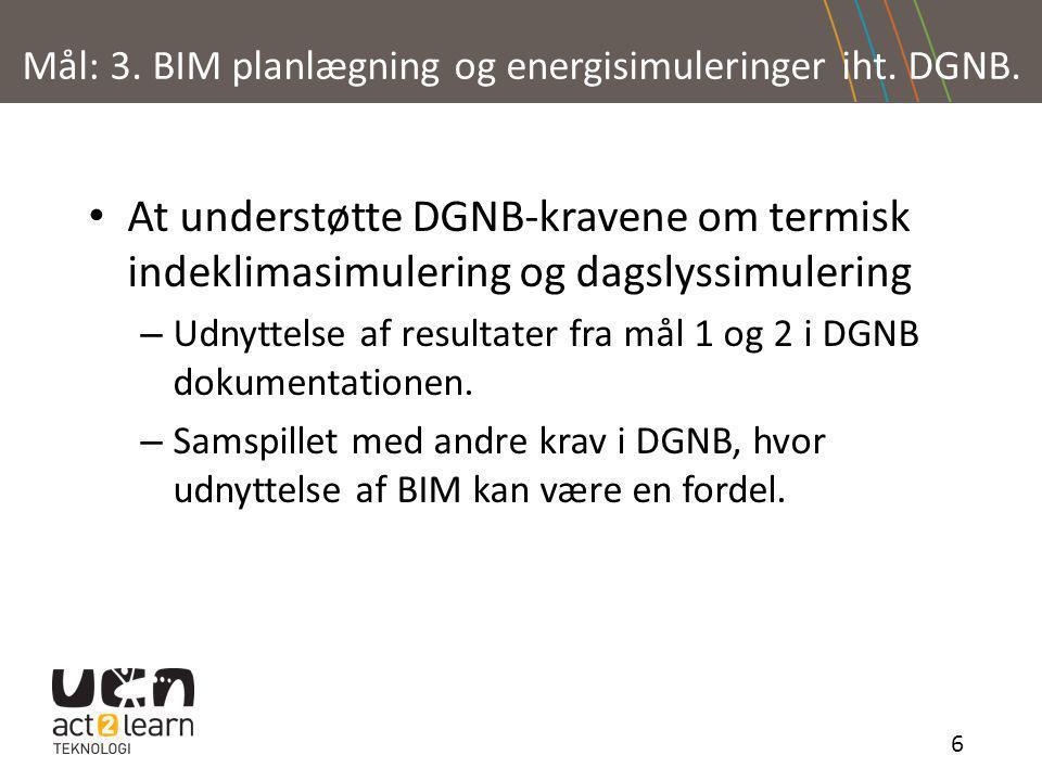 Mål: 3. BIM planlægning og energisimuleringer iht. DGNB.