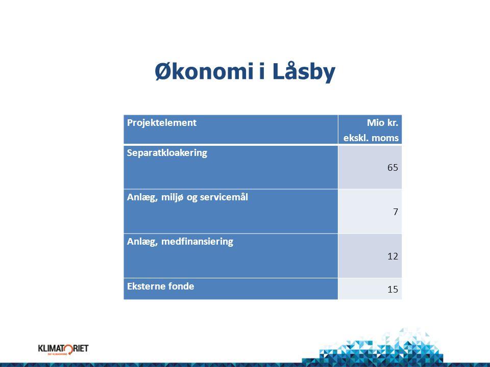 Økonomi i Låsby Mio kr. ekskl. moms Projektelement 65