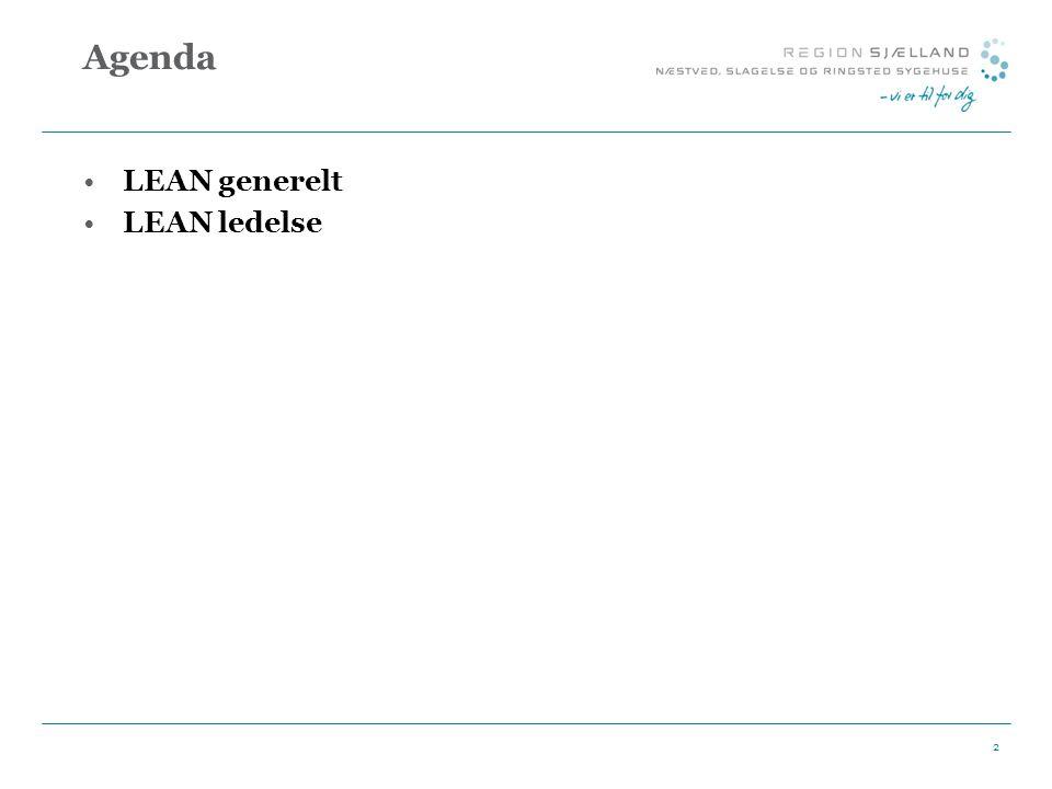 Agenda LEAN generelt LEAN ledelse