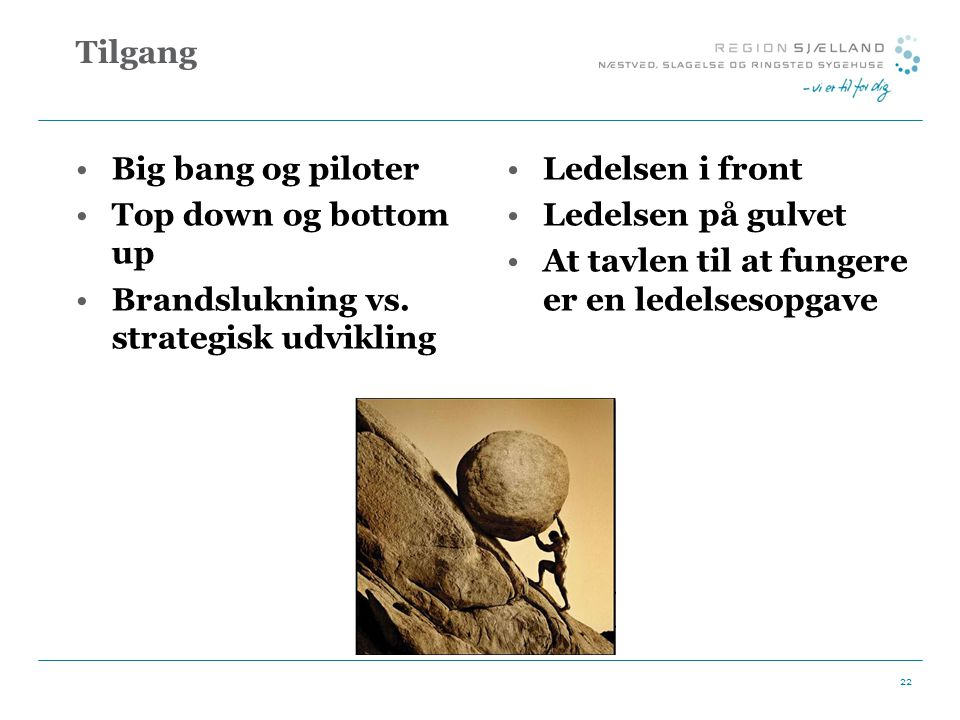 Tilgang Big bang og piloter. Top down og bottom up. Brandslukning vs. strategisk udvikling. Ledelsen i front.