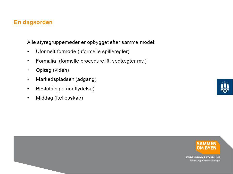 En dagsorden Alle styregruppemøder er opbygget efter samme model: