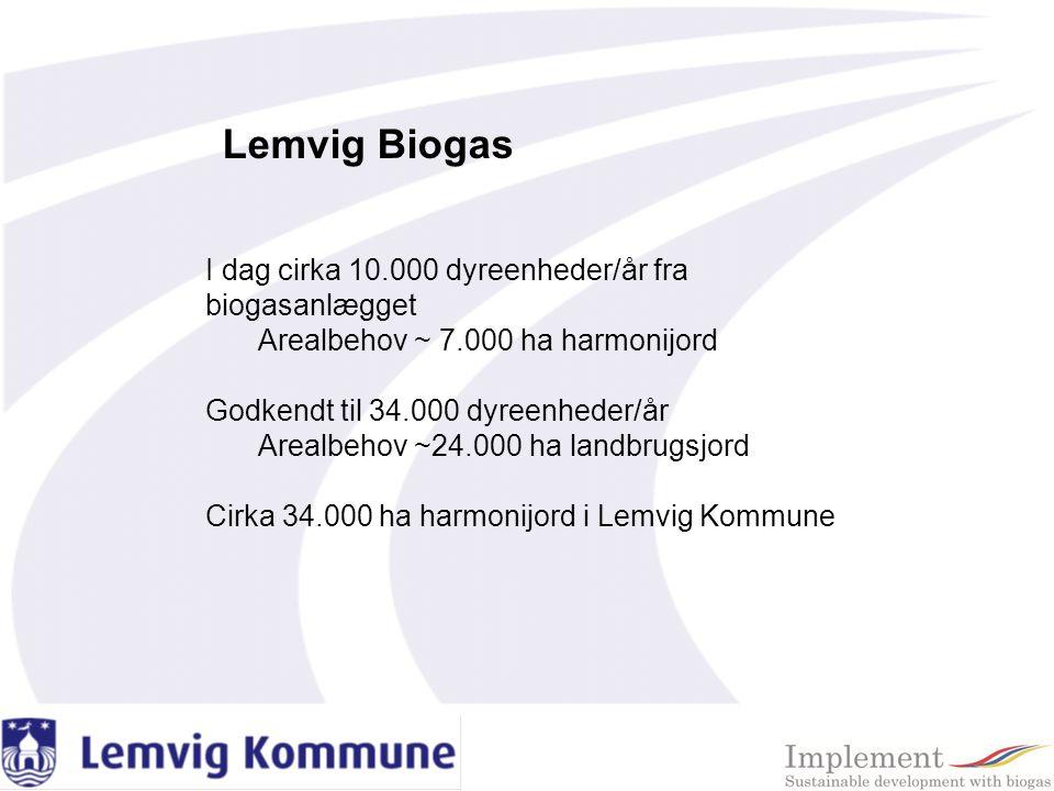 Lemvig Biogas I dag cirka 10.000 dyreenheder/år fra biogasanlægget