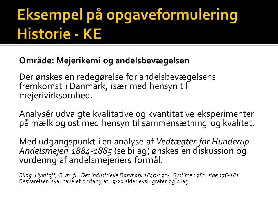 Eksempel på opgaveformulering Historie - KE