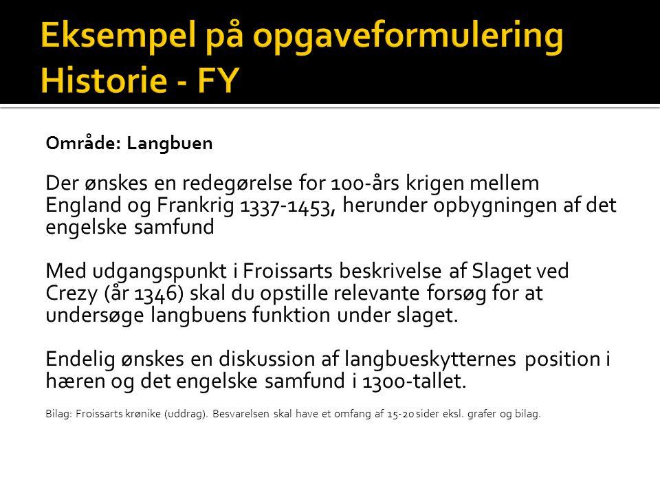 Eksempel på opgaveformulering Historie - FY