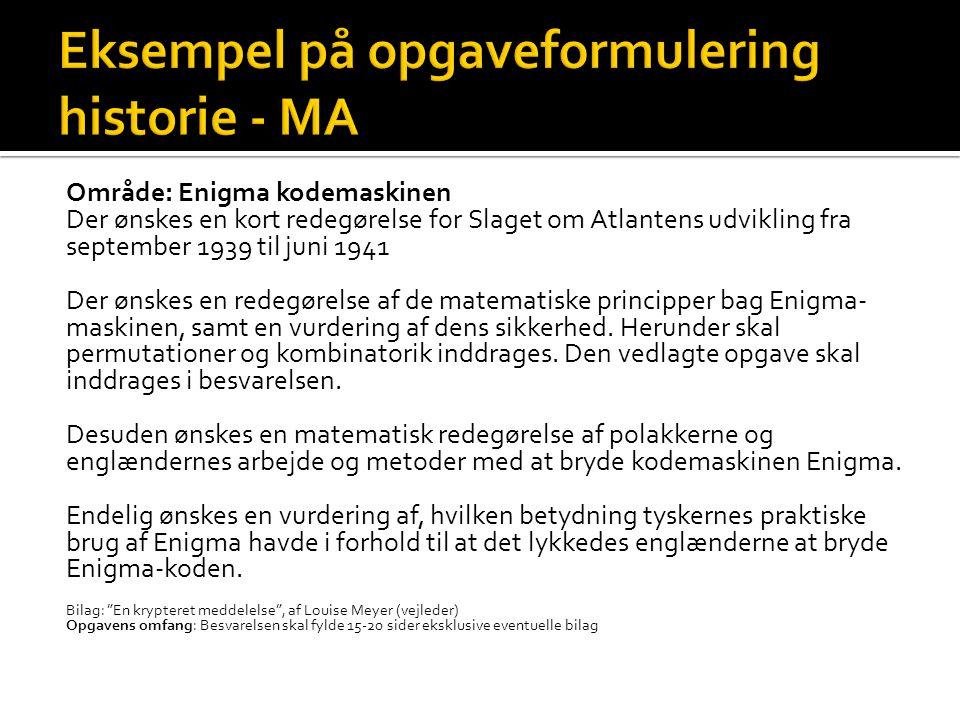 Eksempel på opgaveformulering historie - MA