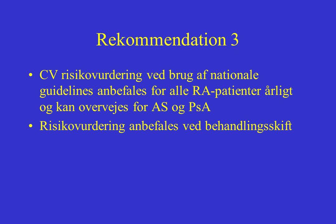 Rekommendation 3 CV risikovurdering ved brug af nationale guidelines anbefales for alle RA-patienter årligt og kan overvejes for AS og PsA.