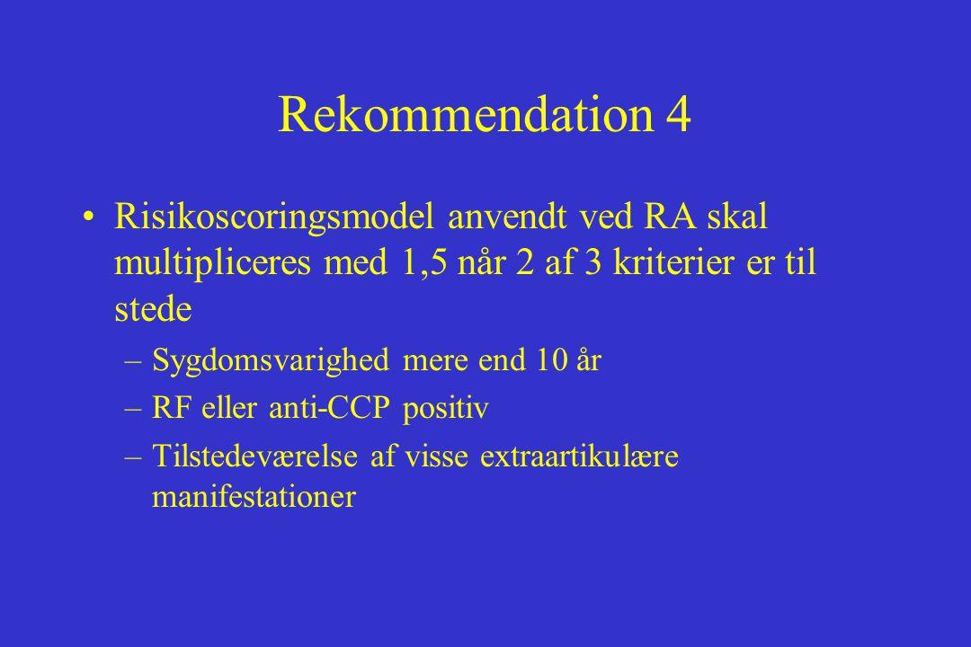 Rekommendation 4 Risikoscoringsmodel anvendt ved RA skal multipliceres med 1,5 når 2 af 3 kriterier er til stede.