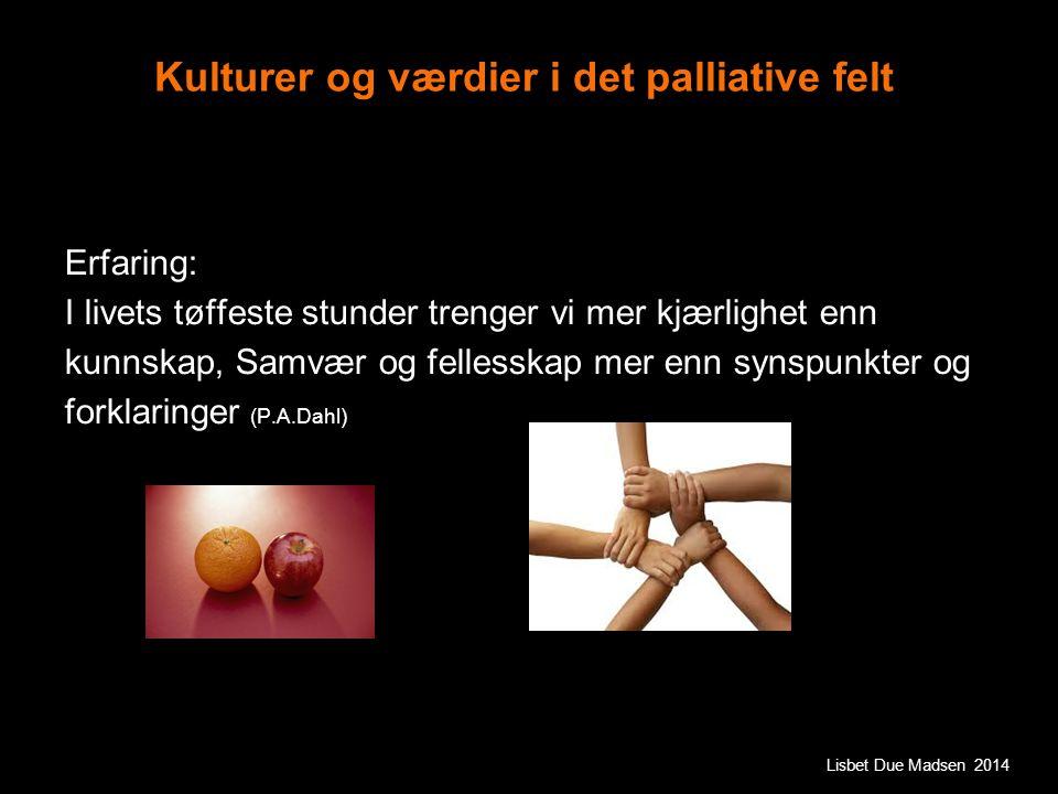 Kulturer og værdier i det palliative felt