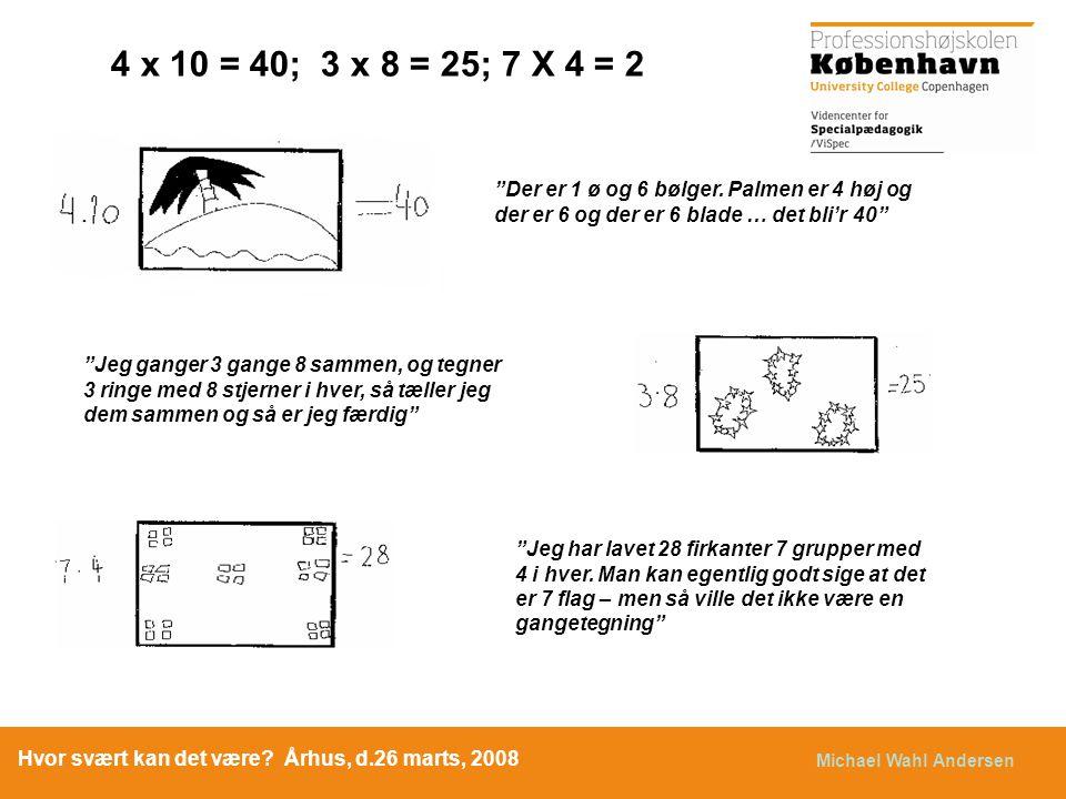 4 x 10 = 40; 3 x 8 = 25; 7 X 4 = 2 Der er 1 ø og 6 bølger. Palmen er 4 høj og der er 6 og der er 6 blade … det bli'r 40