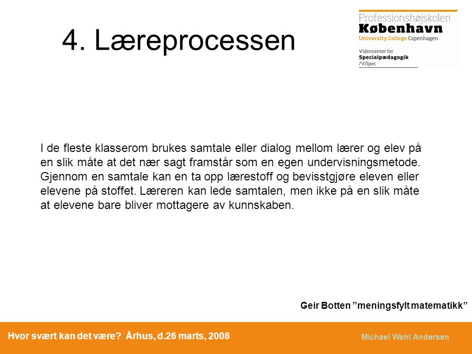 4. Læreprocessen