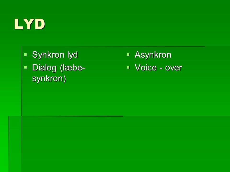 LYD Synkron lyd Dialog (læbe-synkron) Asynkron Voice - over