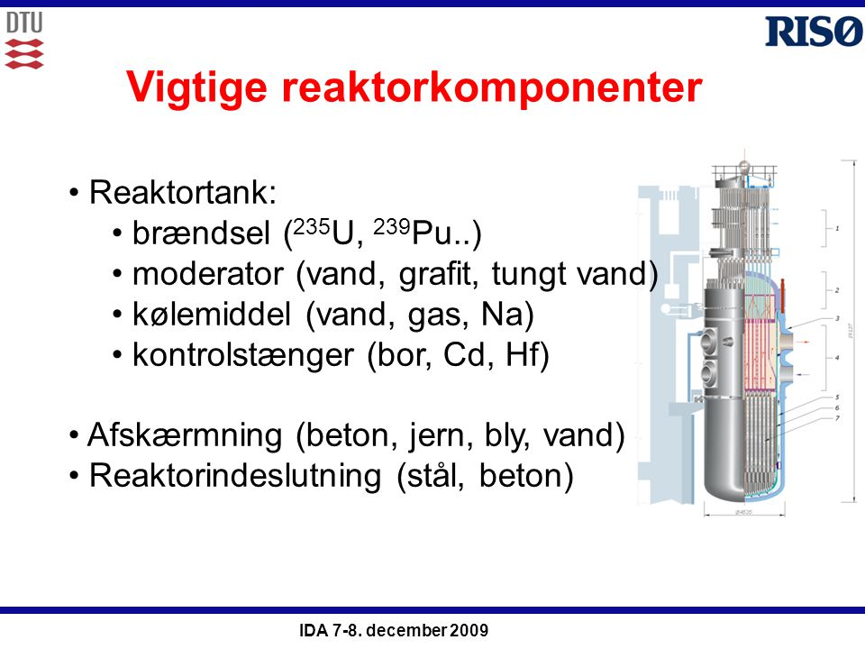 Vigtige reaktorkomponenter
