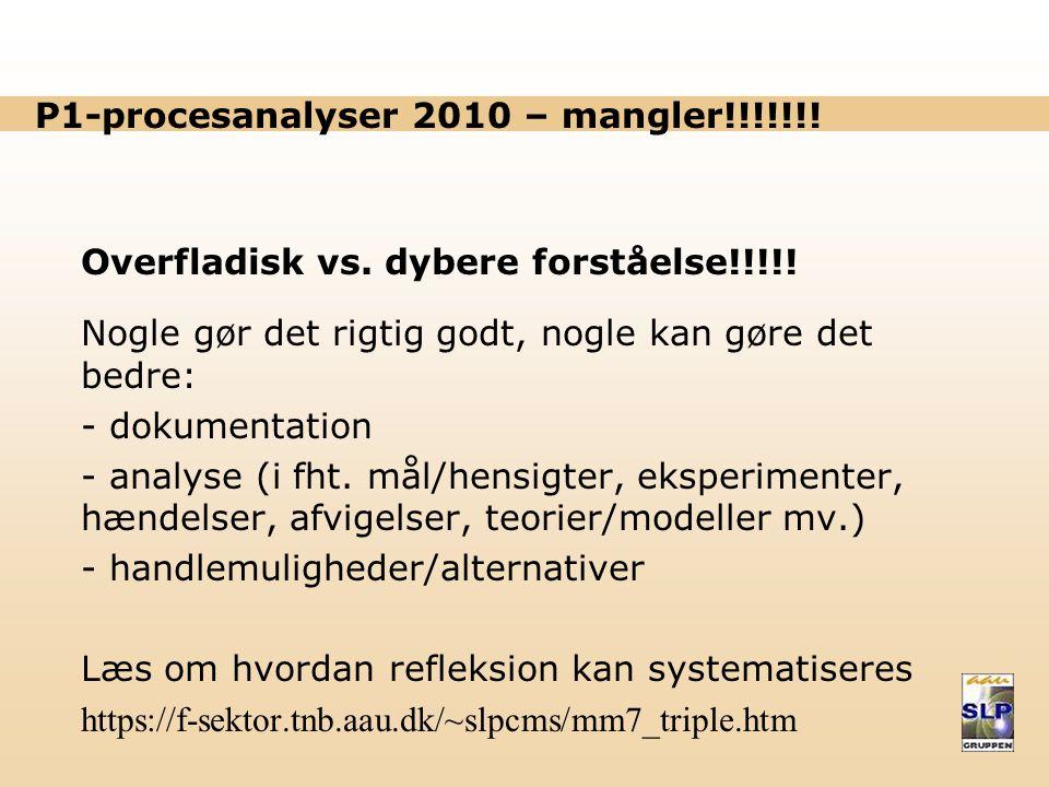 P1-procesanalyser 2010 – mangler!!!!!!!
