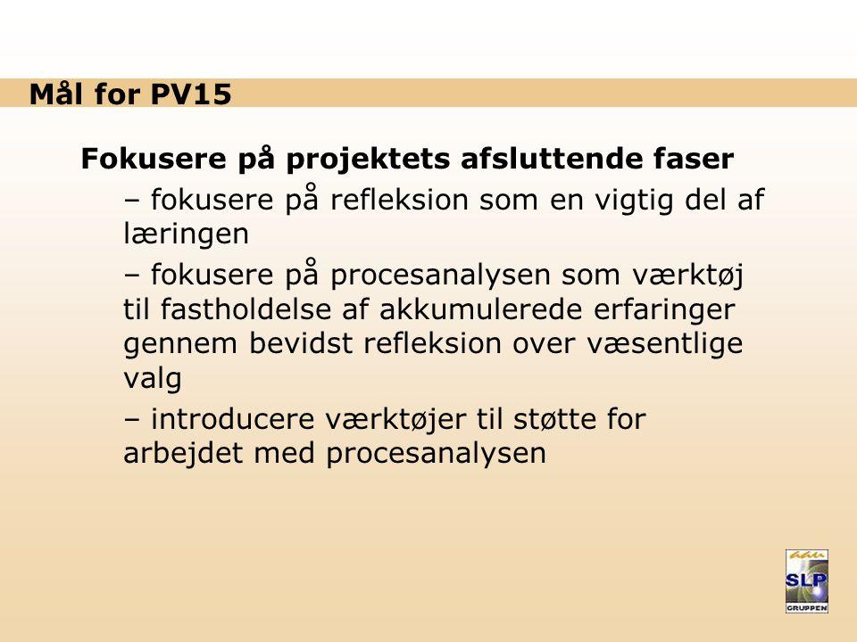 Mål for PV15 Fokusere på projektets afsluttende faser. fokusere på refleksion som en vigtig del af læringen.