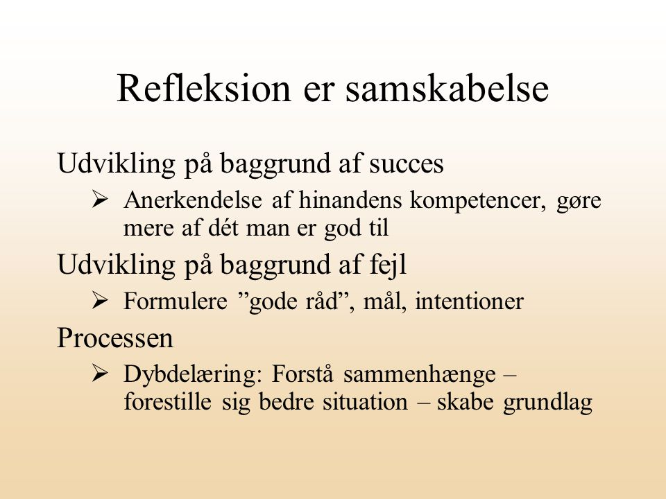 Refleksion er samskabelse