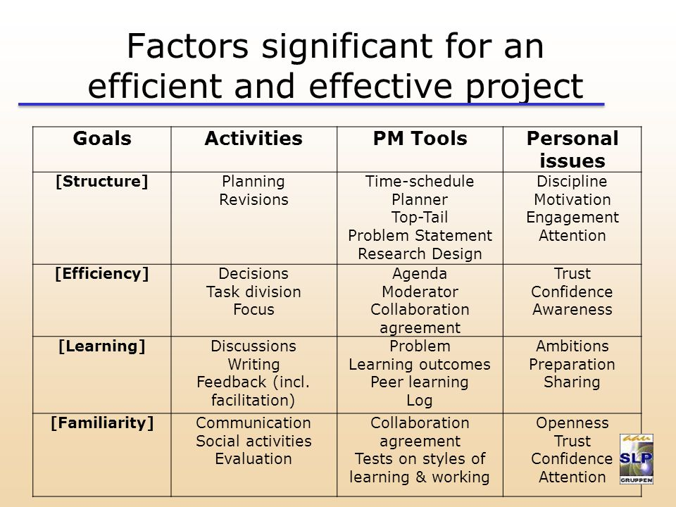 Factors significant for an efficient and effective project