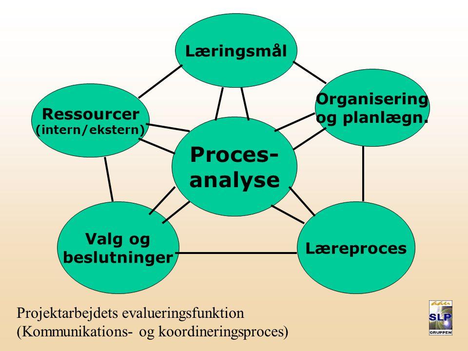 Proces- analyse Læringsmål Organisering og planlægn. Ressourcer
