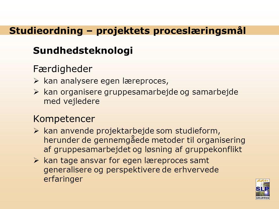 Studieordning – projektets proceslæringsmål