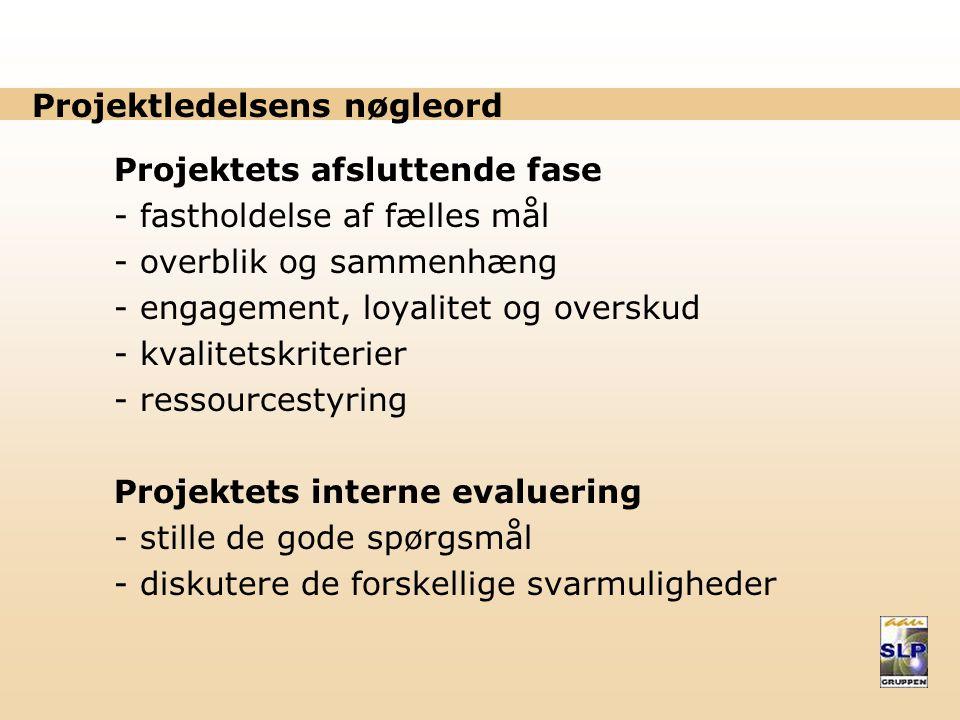 Projektledelsens nøgleord